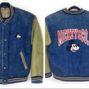 Disney Jackets & Coats - Disney Mickey & Co Varsity Denim Canvas Bomber